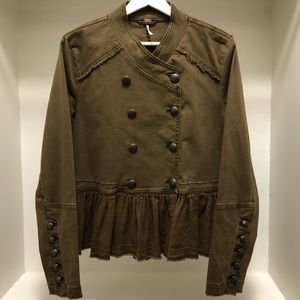 Free People Military Double Breasted Peplum Jacket